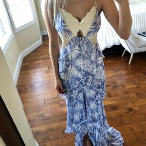 Free people flowing blue dress with lace cutouts